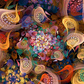 Let the Festivities Begin by Peggi Wolfe - Illustration Abstract & Patterns ( abstract, wolfepaw, festive, color, bright, texture, sphere, fun, spiral, fractal, digital )