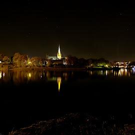 Nidaros Chatedral, Trondheim by Roald Heirsaunet - City,  Street & Park  Night