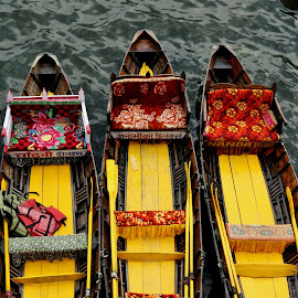 Parked boats in the bank of Naini Lake in Nainital, India by Ashwini Attri - Transportation Boats ( water, boats, cushions, seats, oars, colours )