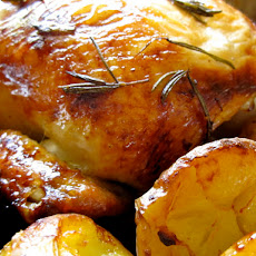 Rosemary Citrus Roast Chicken (overnight marinade) with Roasted Potatoes