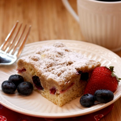 Red, White & Blueberry Crumb Cake