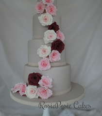 Four Tier Floral Cascade Wedding Cake