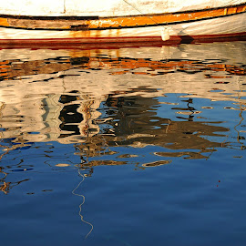 Boat reflection by Pixie Simona - Abstract Light Painting ( water, reflection, harbor, blue, harbour, boat reflection, sea, reflections, seascape,  )