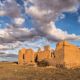 Past glory - Witdam by Terrence Kruger - Buildings & Architecture Decaying & Abandoned ( clouds, clay brick houses, ruins, architecture, landscape )