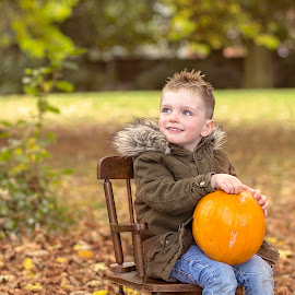 pumpkin season by Melissa Marie Gomersall - Babies & Children Child Portraits ( chair, pumpkin.autunm, rocking, toddler, cute, posing )