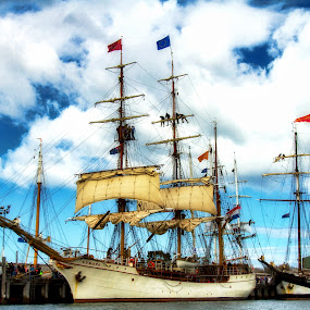 Tall Ships by Bevlea Ross - City,  Street & Park  Historic Districts ( water, piers, tall ships, boats, sails, dutch sailor, device, transportation )