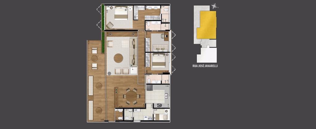 Planta Apto Tipo 167 m², 176 m² e 177 m²