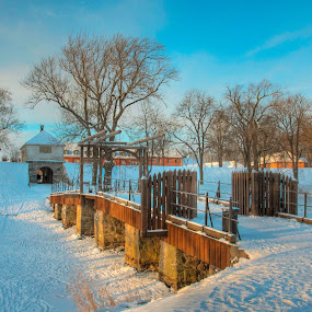 Fortified town bridge by Morten Gustavsen - Travel Locations Landmarks ( fredrikstad, winter, bridge, fortified town, norway )