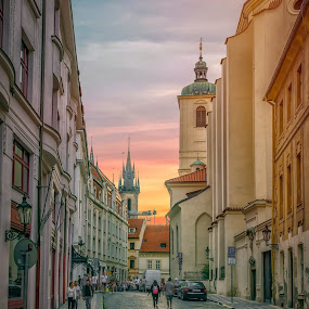 On streets of Prague by Gene Brumer - City,  Street & Park  Street Scenes ( sunset, street, buildings, people, prague, sun )