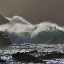 Waves at Clogher by Barbara Walsh - Landscapes Waterscapes ( wild, ireland, waves, weather, kerry, beach, storm )
