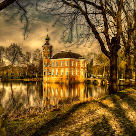 Castle in late afternoon by Egon Zitter - Buildings & Architecture Public & Historical ( tree, afternoon, shadow, lake, castle, road, gate, lane )