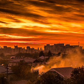 The end of the world by Opreanu Roberto Sorin - City,  Street & Park  Skylines ( clouds, giurgiu, houses, building, colors, romania, landscape, fire, smoke, city, red, tree, sunset, view, top,  )