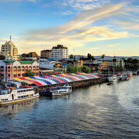 The Heart of Valdivia by Charles Brooks - City,  Street & Park  Skylines ( water, church, hdr, patagonia, boat, calle calle, los rios, chile, market, valdivia, south america, sunset, ripples, afternoon. river, fusion, cau cau, cathedral )