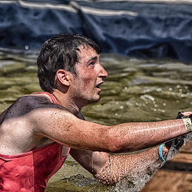 Help Me Please ! by Marco Bertamé - Sports & Fitness Other Sports ( water, red, améville, climbing out, the mud day, man, athlete )
