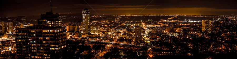 Panorama at Night by Sarah Hauck - City,  Street & Park  Skylines ( lights, skyline, buildings, busy, night, hamilton, streets, cityscape, panorama )