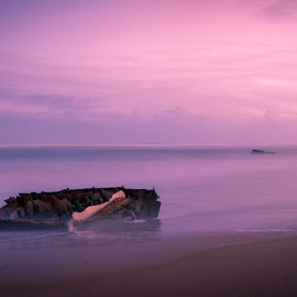 Beach Sunset by Nicolas van der Merwe - Landscapes Beaches ( ship, wreck, sunset, beach, photography )