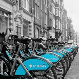 Rental Bikes by Dunstan Vavasour - Transportation Bicycles ( fitzrovia, b&w, monochrome, selective color, street, barclays, cycle rack, boris bikes, bicycles, selective colour, london, bikes, transport,  )