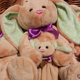 Mama & Baby Bunnies by Kathy Rose Willis - Artistic Objects Toys ( easter, toy, purple, green, ears, brown, bunnies, soft,  )