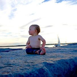 watching the sea by Colin F - Babies & Children Child Portraits ( sunse, rock, sail, ocean, baby, boy )