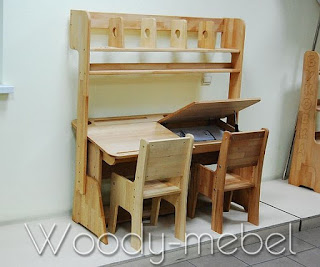 парта двойная С885 со стульями и надстройкой
