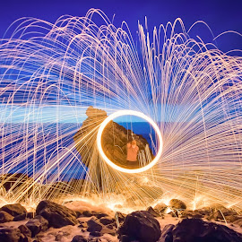 Spin by Mark Gower - Abstract Light Painting ( wire, long exposure, portugal, wirewool )