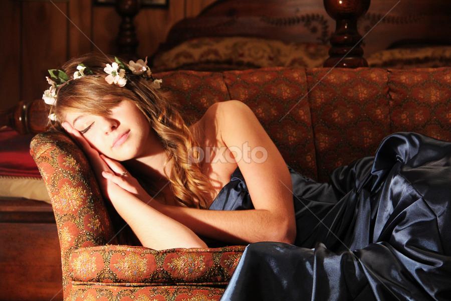 Bridesmaid Sleeping by Freda Nichols - Wedding Other ( couch, bridesmaid, sleeping, flowers,  )