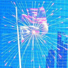 Independence celebration by Mark Sarden - Digital Art Things ( building, flag, independence, fireworks )