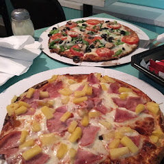 GF Veggie and GF Canadian Bacon and Pineapple Pizzas