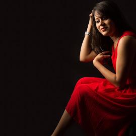 Sananda by Subhasis Mukherjee - People Fashion ( model, red, indoor, beautiful, pretty, light, black )