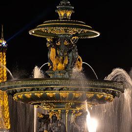 by Deborah Stuckey - City,  Street & Park  Fountains ( paris, night photography,  )