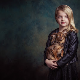 Me and my dog by Henk  Veldhuizen - Babies & Children Child Portraits ( child, girl, fine art, child portrait, chihuahua, dog )