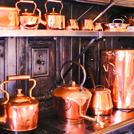The Gleaming Pots by Kate Purdy - Food & Drink Cooking & Baking ( teapot, copper, copper pots and pans, cast iron, stovetop, vintage kitchen,  )