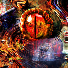 Nightmare by Bob Welch - Digital Art Abstract ( artography, scary, monster, clown, skeleton, halloween )