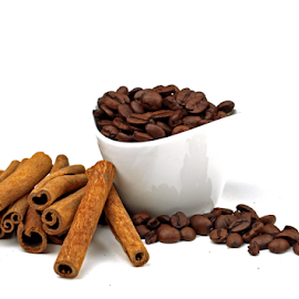 by Dipali S - Food & Drink Ingredients ( ingredients, mocha, grind, isolated, bowl, beverage, cinnamon, coffee beans, ground, white, hot, latte )