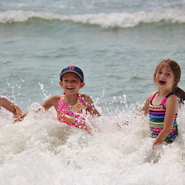 Cousins on vacation by Jo Lynn Hope - Babies & Children Children Candids ( vacation, ocean wave, children, summer, ocean, fun, kids, swimming,  )