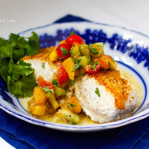 Roasted Tomatillo Peach Salsa with Pan-Fried Halibut
