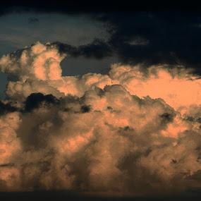 Orange and black by Nat Bolfan-Stosic - Landscapes Cloud Formations ( clouds, orange, sky, storm, black )