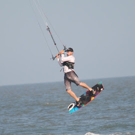 Riding the Air by Prentiss Findlay - Sports & Fitness Watersports ( wind, kiteboarder, ocean, beach, surf )