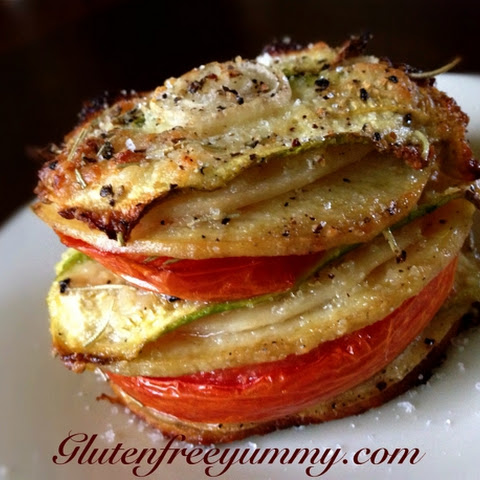 Vegetable Stack with Parmesan, Rosemary & Sea Salt