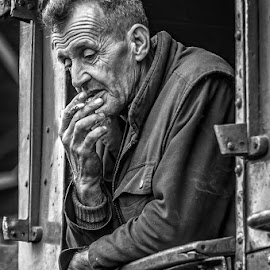 Pause by Samir Zahirovic - People Portraits of Men ( #portrait, #man, #steam, #locomotive, #work, #blackandwhite )