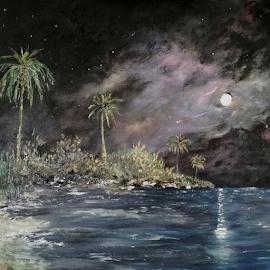Moonlit Tropics by Rhonda Lee - Painting All Painting ( palm, moon, unique, tree, stars, beautiful, art, original, sea, rokinronda, ocean, pretty, painting, design,  )