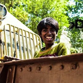 priceless smile by Kunal Dron - People Street & Candids ( travel photography, nikon, close up, green, natural, street, traveling, travel, trains, moment, smile, train )