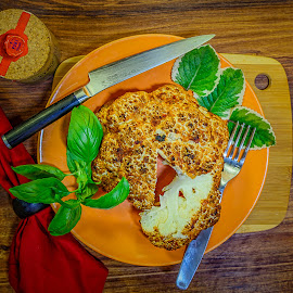 Whole Roasted Cauliflower with Herbs and Fleur De Sel by Bill Camarota - Food & Drink Plated Food ( plated, herbs, cauliflower, whole, serving, plated food, roasted )