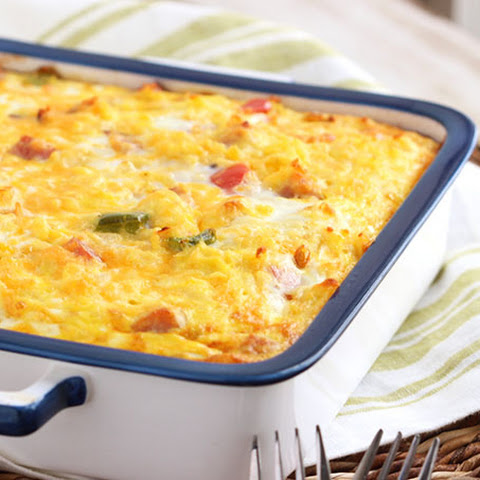 Ham, Cheddar and Hash Brown Breakfast Casserole