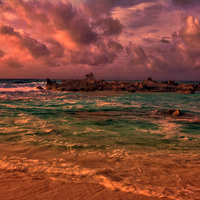by Cristobal Garciaferro Rubio - Landscapes Cloud Formations ( caribbean sea, clouds, water, wves, sand, rise, sea, sunrise, rocks, sun, caribbean, sea shore )