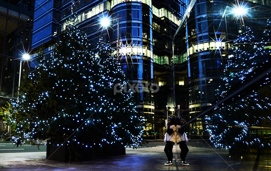 Urban Girl in City Lights by Becky Wheller - City,  Street & Park  Street Scenes ( urban, street, christmas, night, city )