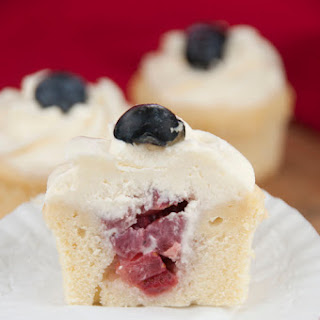 Strawberry-Filled Patriotic Cupcakes