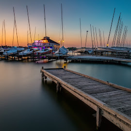 White Rock Sunset by Jim Hamel - Transportation Boats ( water, white rock lake, sunset, dallas, texas, lake )