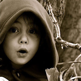 by Lori Lei Herr - Babies & Children Children Candids ( expression, child, girl, red riding hood, fairy tale, autumn, black and white, fall, artistic, children, hazel eyes, brown hair )