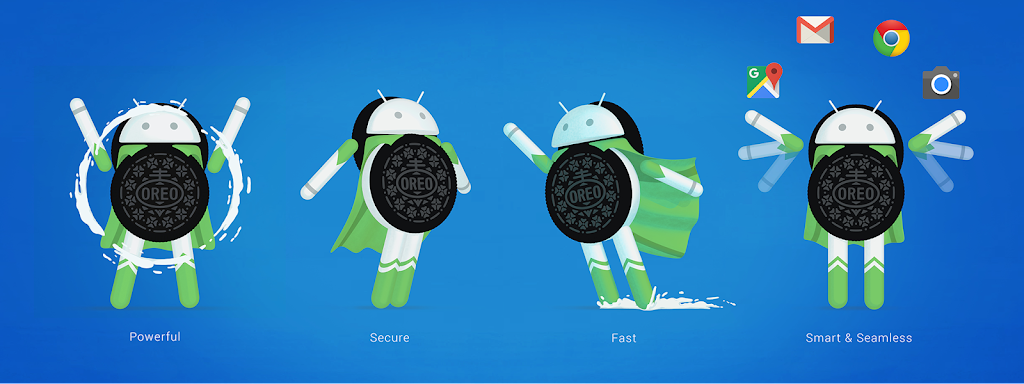 Android Oreo (8.0) mascots on a blue background, google